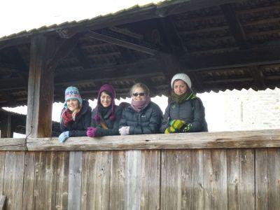 Karen, Selina, Julie and Irina on the Kapellbrucke