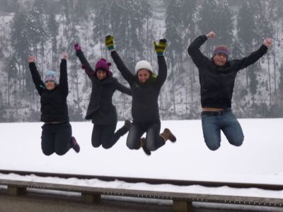 Jumping for joy after Kambly