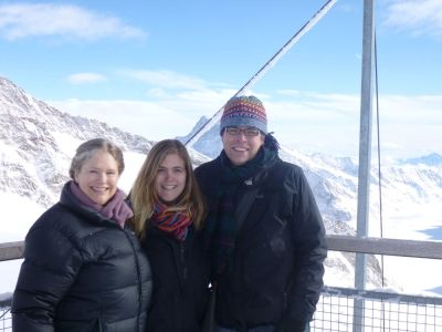 Us on the freezing outdoor viewpoint