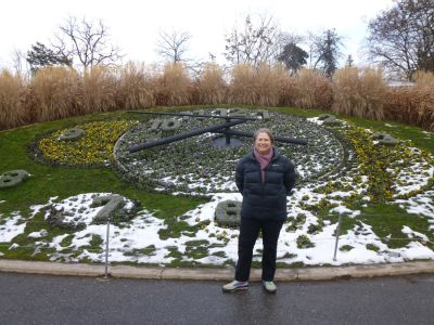 Julie at the floral clock