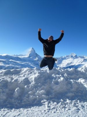 Jumping for joy in the mountains