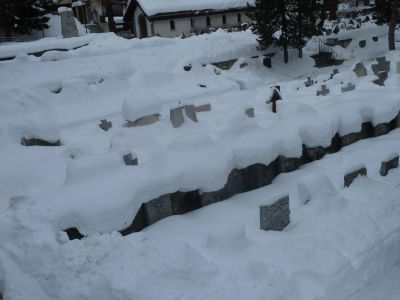 Wandering around town, apparently this is the graveyard under snow!
