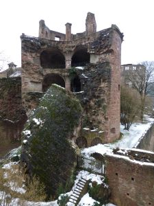 A fallen down tower at the castle