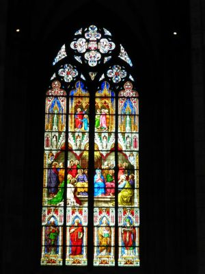 Beautiful stained glass inside the cathedral