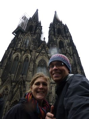 Us outside the vast cathedral