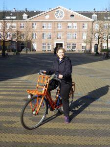 Riding my orange bike