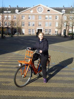 Riding my orange bike