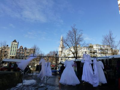 Wedding dresses at the second hand market