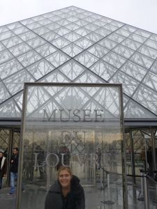 Outside the glass pyramid entry to the Louvre