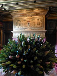 Beautiful flowers in the chateau
