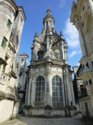 The beautiful detailing at the top of the chateau