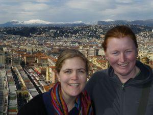 Karen and Sarah looking over Nice