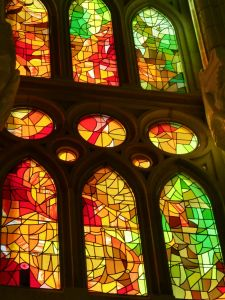 The stained glass windows