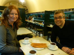 Sarah and Reubs with chocolate and churros