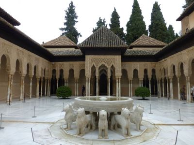 Courtyard of the Lions, with water running out each side