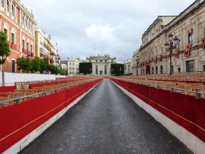Viewing areas for the parades - empty due to rain