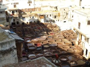 Looking down on the tannery