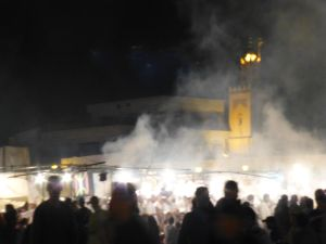 Smoke from the food stalls