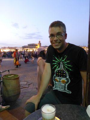 Coffee with Djema-El-Fnaa as backdrop