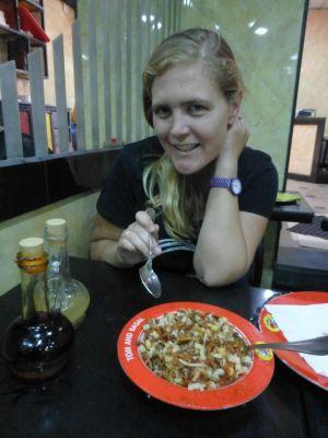 Karen eating koshary