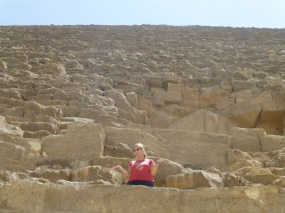 Climbing the side of the Great Pyramid