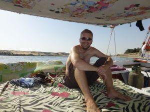 Reubs relaxing on board