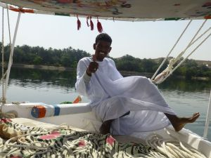 Nega sailing the felucca