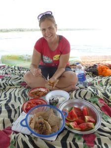 Karen feasting on the food
