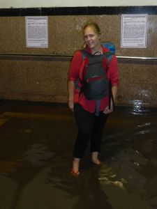 Wading at the train station