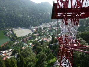 Looking down the gondola