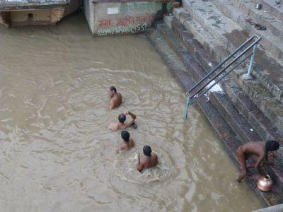 A few people bathing