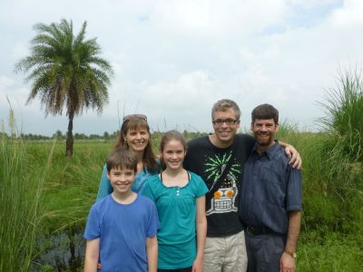 With friends at the bird sanctuary