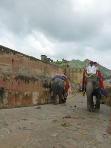 Riding elephants up to the fort