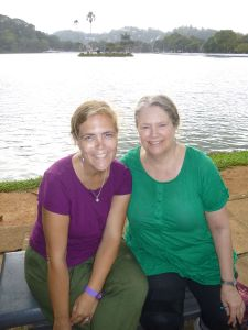 Karen and Julie by the lake