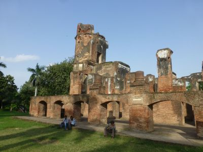 The ruined buildings