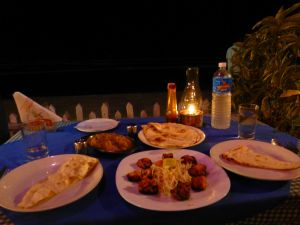 Indian fish and chips (potato curry and fish tikka)