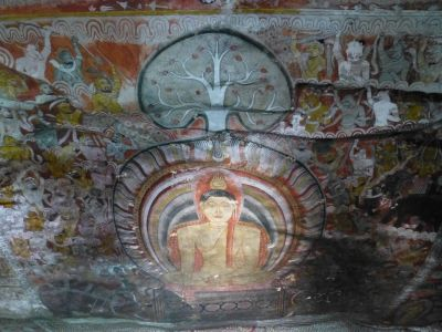Inside a cave temple