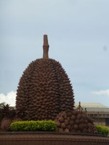 Massive Durian statue in the middle of town