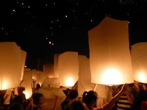 Lanterns before being released